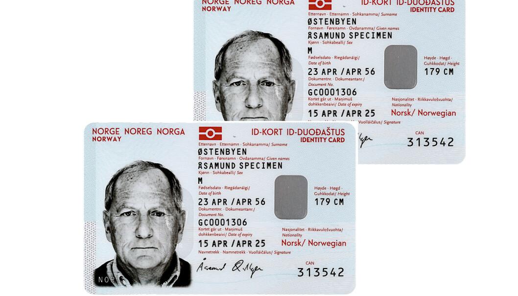 <strong>SLIK SER DET UT:</strong> Fra oktober kan man få nasjonalt ID-kort. Foto: Politiet