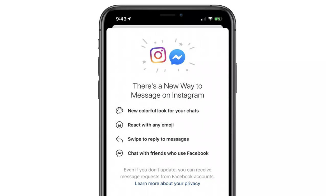 <strong>FELLES INNBOKS:</strong> Facebook er i gang med å slå sammen chattetjenestene sine. I første omgang vil du få Facebook Messenger i Instagram.