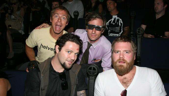 <strong>DØD:</strong> Ryan Dunn døde i en bilulykke i 2011. Her er han avbildet med Dave England, Spike Jonze og Bam Margera i 2010. Foto: NTB Scanpix