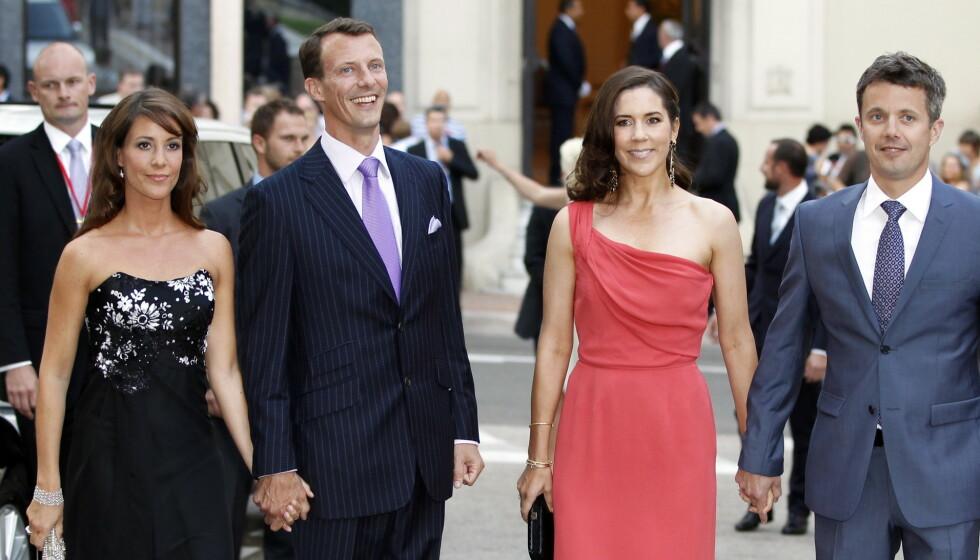 <strong>LETTET:</strong> Kronprinsesse Mary (til høyre) forteller at ektemannen, kronprins Frederik, var lettet etter at han besøkte broren, prins Joachim (til venstre) etter innleggelsen. Her med kona, prinsesse Marie (ytterst til venstre). Foto: NTB scanpix