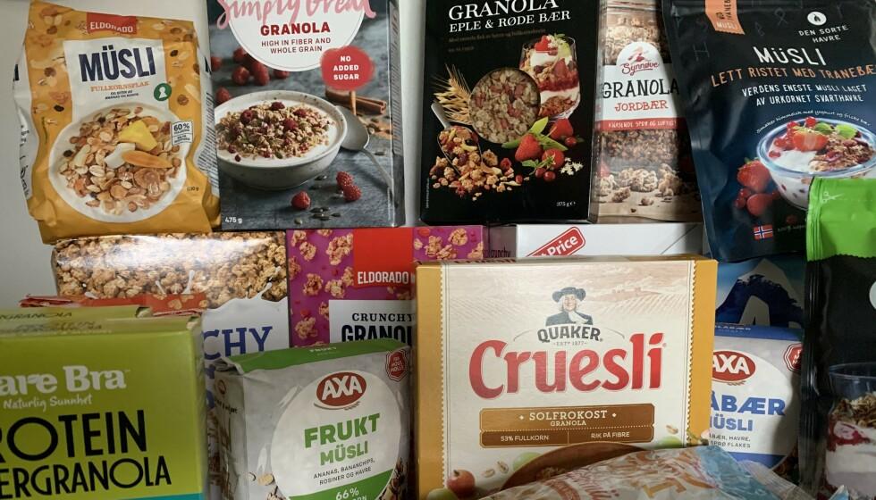 <strong>TEST AV FROKOSTBLANDINGER:</strong> Dagbladet har testet frokostblandinger. Testen er delt mellom müsli og granola. Her finner du resultatene av müslitesten (testen av granola kommer litt senere i høst). Foto: C. Sjuve
