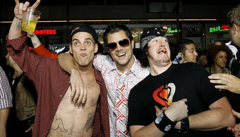 <strong>DEN GANG DA:</strong> Johnny Knoxville (midten) sammen med Steve-O (t.v.) og Ehren McGhehey på verdenspremieren av «Jackass: Number Two» i Hollywood i 2006. Foto: Reuters/ NTB scanpix