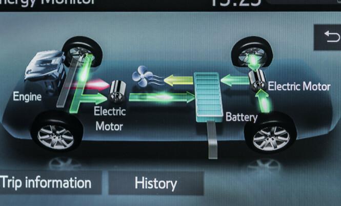 <strong>STØRRE BATTERI:</strong> Og vi har aldri sett at noen har vist energitap ved bruk av varmeapparat. Foto: Toyota.