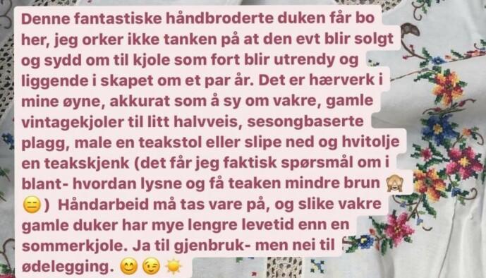 """<strong>SKAPTE ENGASJEMENT:</strong> Meldingen Camilla skrev på Instagramkontoen """"Tidstypisk""""."""