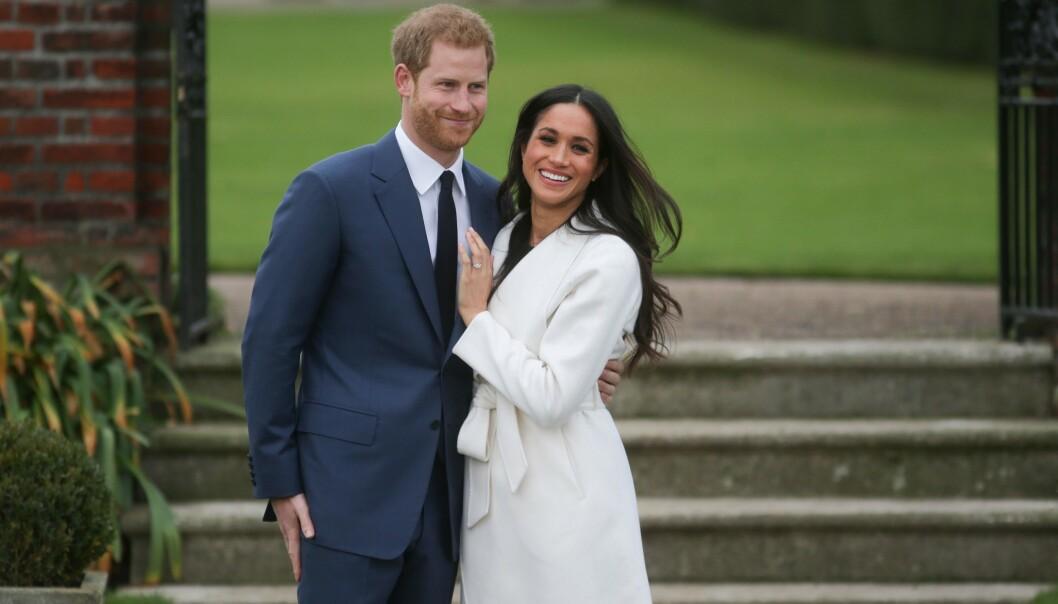 <strong>GLADE DAGER:</strong> Meghan og Harry etter at forlovelsen ble kjent i 2017. FOTO: NTBScanpix