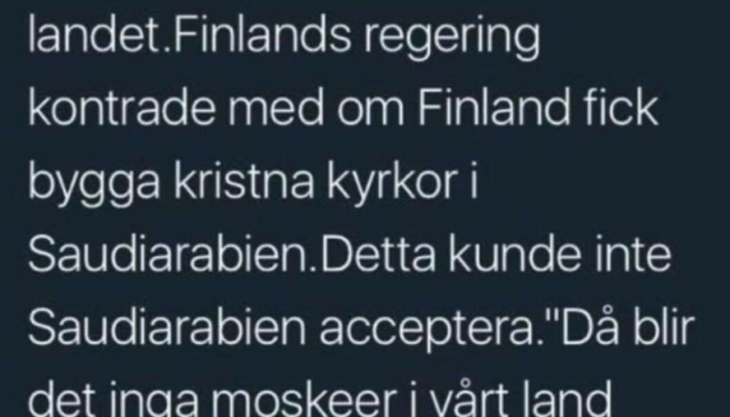 Et skjermbilde av en svensk Twitter-melding fra 2018 spres igjen blant norske Facebook-brukere. Foto: Skjermbilde fra Facebook