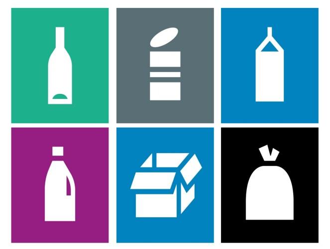 <strong>NYE MERKER FOR KILDESORTERING:</strong> Det grønne øverst til venstre er glass; den grå ved siden av er metall - og den blå øverst til høyre er drikkekartong. Den lilla nederst til venstre er plast; den blå ved siden av er kartong, papp og papir - og den svarte til høyre er restavfall. Foto: Grønt Punkt