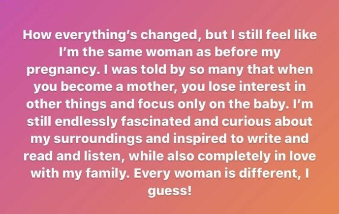 <strong>FORELSKA:</strong> På Instagram skriver hun at hun er helt forelska i familien sin, etter at hun nå har blitt mamma. Foto: Skjermdump Instagram