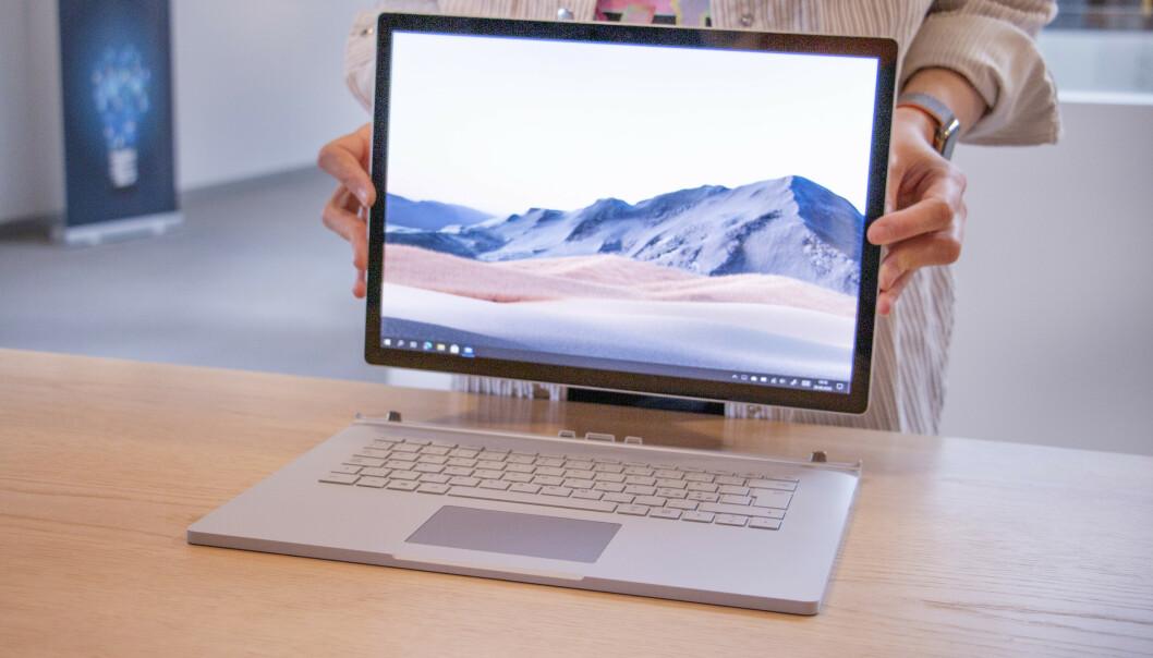 <strong>SURFACE BOOK 3:</strong> Microsofts heftigste bærbare er blant de mest solide laptopene på markedet. Foto: Martin Kynningsrud Størbu