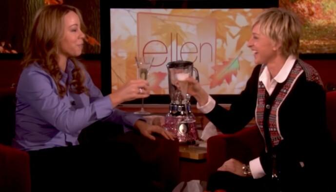 <strong>BEKLEMT:</strong> Stemningen mellom Mariah Carey og Ellen DeGeneres under dette intervjuet var ikke spesielt god, ifølge popstjernen. Foto: TV3
