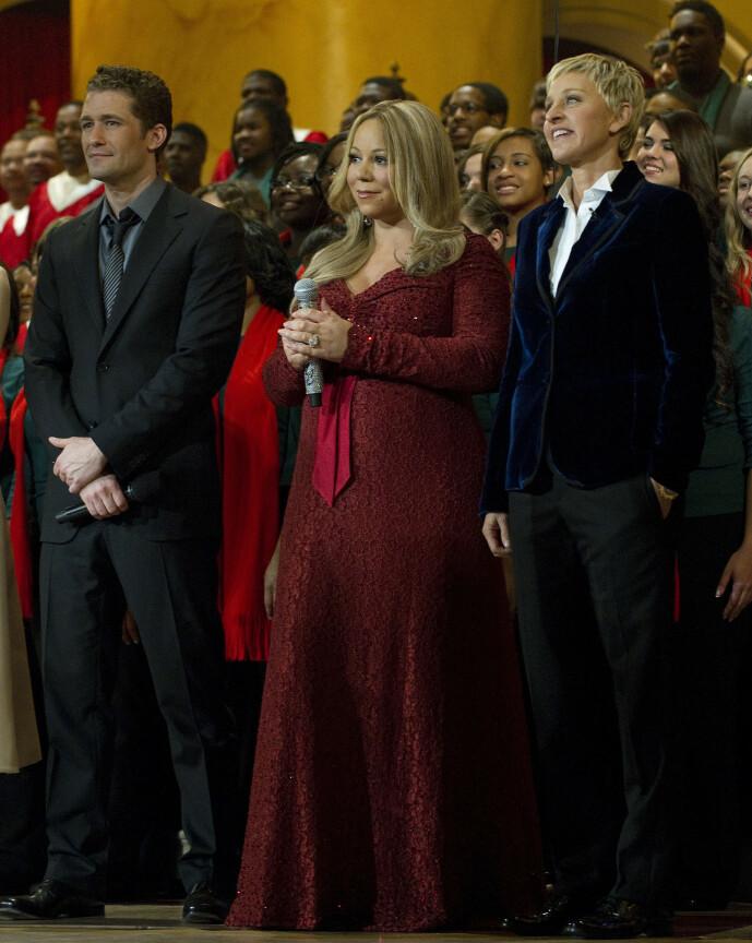<strong>- UTILPASS:</strong> Mariah Carey og Ellen DeGeneres har møttes en rekke ganger. Her er de fotografert sammen i 2010, sammen med skuespiller Matthew Morrison, i forbindelse med en veldedighetsgalla. Foto: AFP/ NTB Scanpix