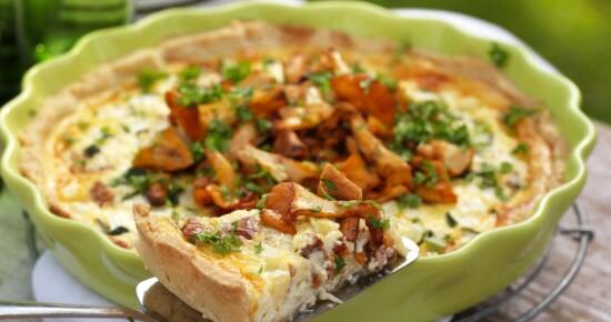 Kantarell- og ostepai med squash