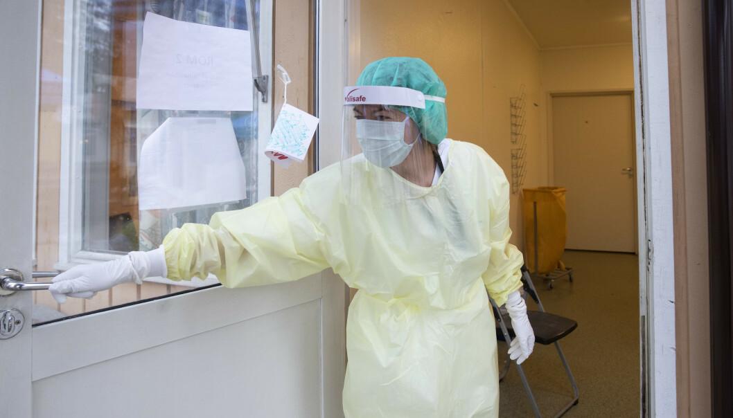 <strong>FÅTT CORONA:</strong> Nå regnes corona som yrkessykdom - hvis man er smittet på arbeidsplassen. Her fra Ullevål sykehus tidligere i vinter. Foto: NTB Scanpix