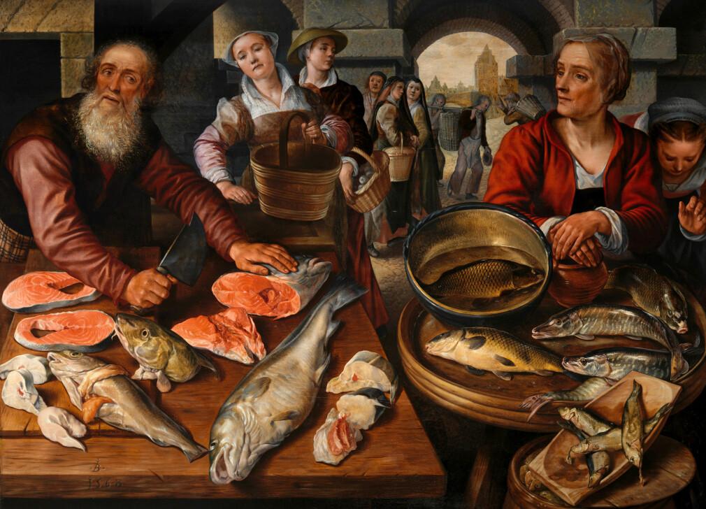 Selvstendig næringsdrivende i sjømatnæringen, som ville nytt godt av å heller sette opp en nettbutikk. 📸: Joachim Beuckelaer / metmuseum.org / Public Domain