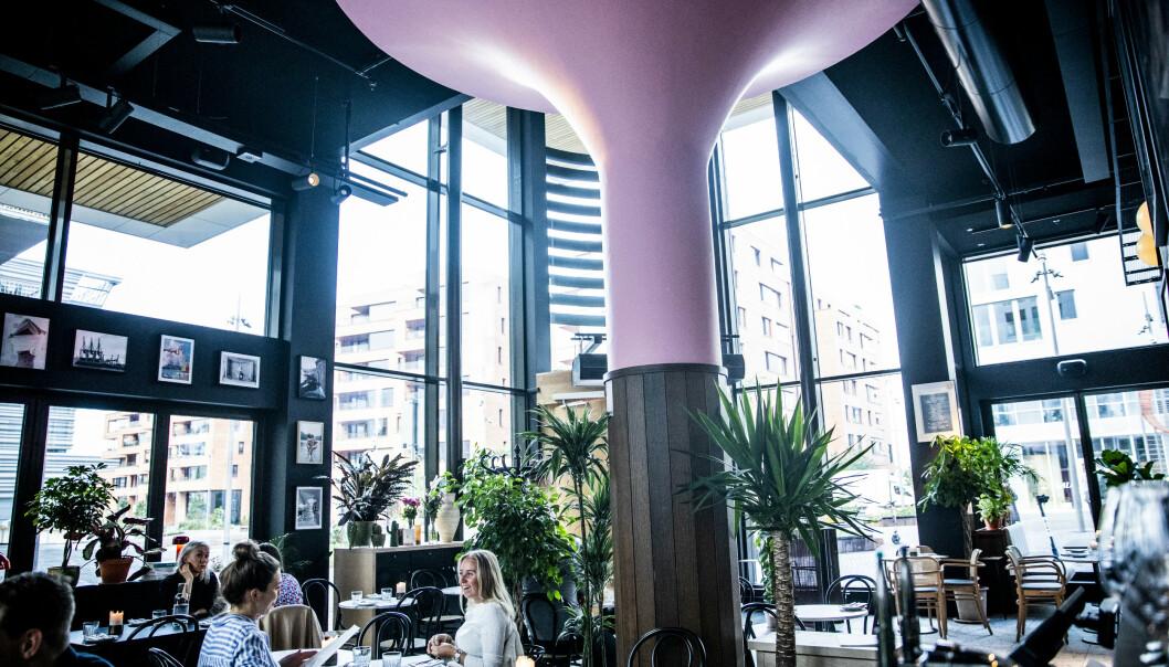 <strong>WOW-FAKTOR:</strong> Både døra, og toppen av søyla, midt i rommet, er malt i en knall, lyserosa farge. Foto: Christian Roth Christiansen / Dagbladet