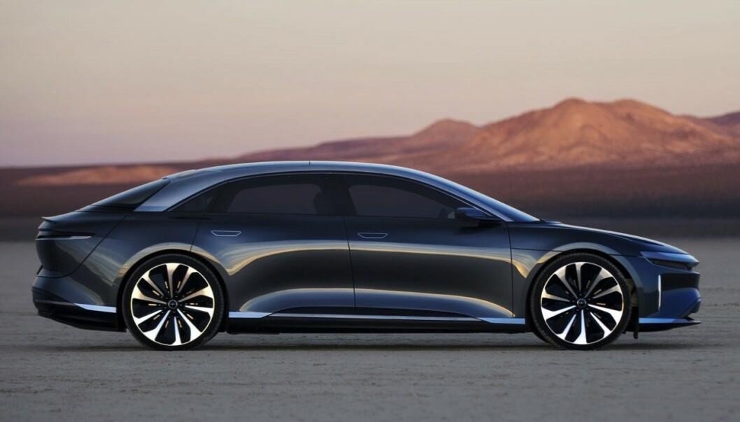 <strong>LUCID AIR:</strong> Lucid Air skal vli en luksuriøs sedan, en anelse mindre enn Tesla Model S i lengde. Foto: Lucid