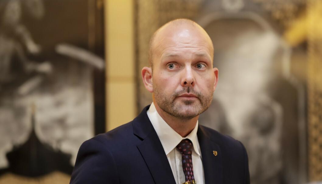 <strong>ORDFØRER:</strong> Sarpsborg ordfører Sindre Martinsen-Evje på pressekonferanse i Sarpsborg rådhus. Foto: Vidar Ruud / NTB scanpix