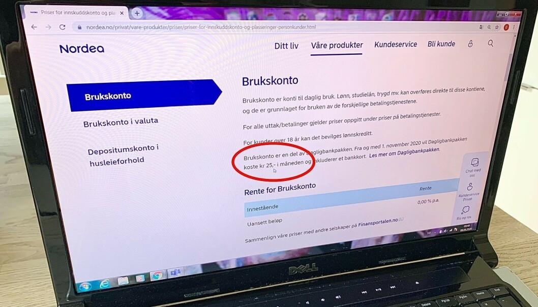 <strong>NYTT GEBYR:</strong> Nordea lanserer en ny dagligbankpakke hvor du også må betale for å ha én eller flere dagligbanktjenester hos dem, for eksempel brukskonto for trekk til lån, selv om du ikke har kort tilknyttet kontoen. Foto: Eilin Lindvoll.