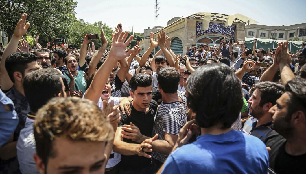 <strong>PROTESTEN:</strong> Et bilde fra protesten Afkari deltok på i Teheran i 2018. Foto: NTB Scanpix
