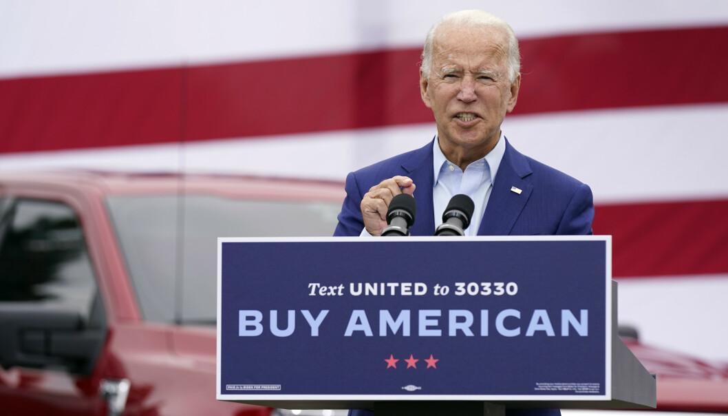 <strong>RASER:</strong> Joe Biden raser mot Donald Trump etter nye avsløringer. Foto: Patrick Semansky / AP / NTB scanpix