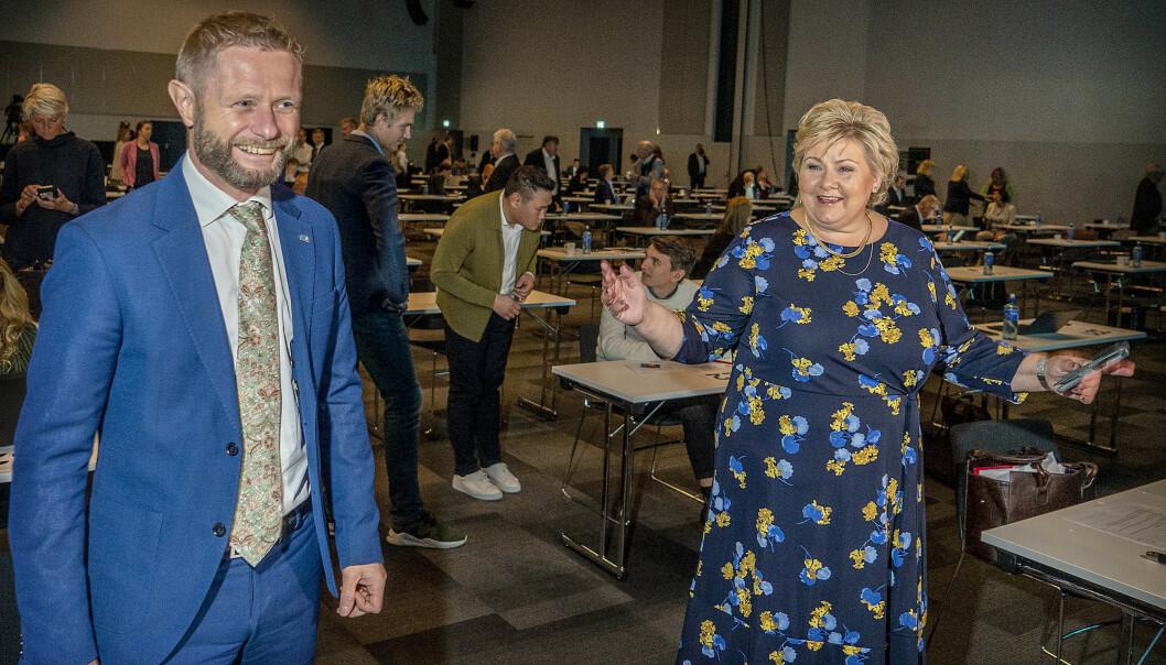 <strong>OPTIMIST:</strong> Statsminister Erna Solberg lanserte hydrogenstrategi og ideen om nullutslippsferjer mellom de nordiske landene i landsmøtetalen. Foto: Hans Arne Vedlog / Dagbladet