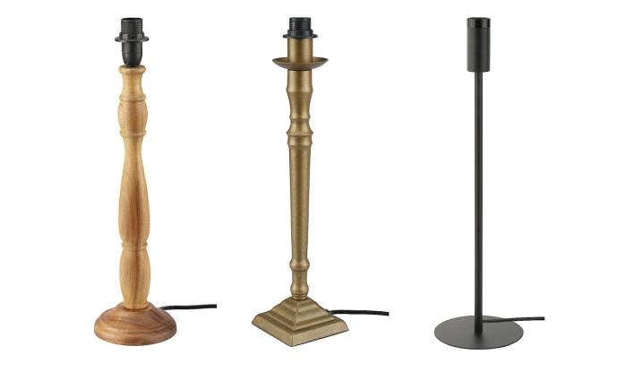 <strong>TRE ULIKE STILER:</strong> Velg mellom ulike lampeføtter for helt forskjellige uttrykk.