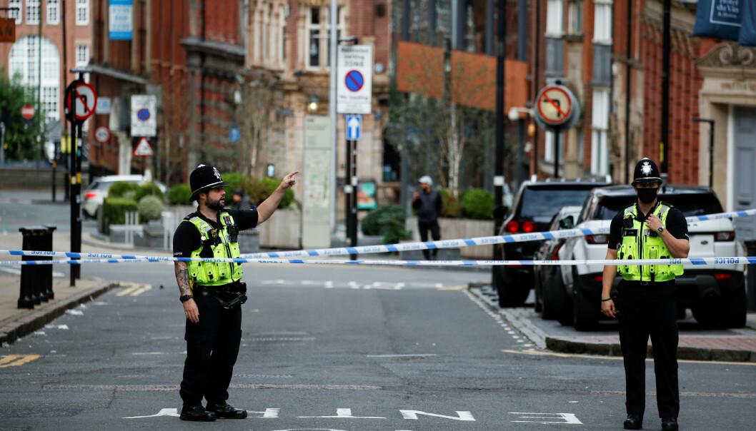 <strong>VOLDSOMT:</strong> Angrepene skjedde på fire steder over hele Birmingham sentrum. Foto: Scanpix
