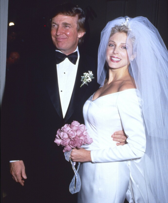 <strong>NYTT BRYLLUP:</strong> Allerede året etter den første skilsmissen giftet Donald Trump seg på nytt - med Marla Maples. Foto: NTB scanpix