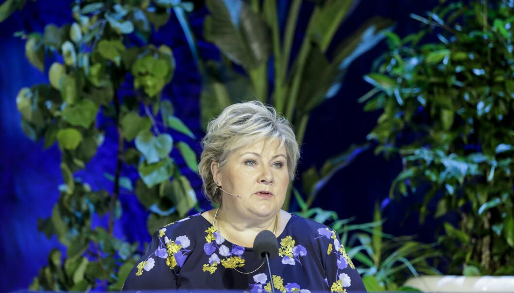 <strong>- BLIR 3000:</strong> Statsminister Erna Solberg sier Norge vil ta imot alle 3000 kvoteflyktninger det er budsjettert med for 2020, selv om ikke UDI får innvilget mer enn 2000 i inneværende år. Foto: Vidar Ruud / NTB Scanpix