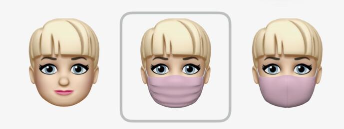 <strong>PÅ MED MASKA:</strong> I iOS 14 kan du bruke munnbind på Memojien din. Skjermbilde: Kirsti Østvang