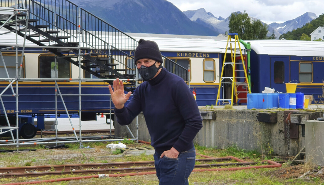 <strong>I ÅNDALSNES:</strong> Tom Cruise på settet i Rauma tidligere i september. Foto: Foto: Even Ørjasæter / Åndalsnes Avis / NTB scanpix