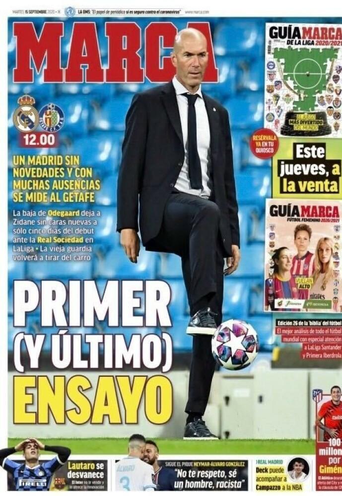<strong>PÅ FØRSTESIDA:</strong> Kampen mot Getafe får stor oppmerksomhet i Spania i dag. - Første og siste treningskamp, skriver Marca.