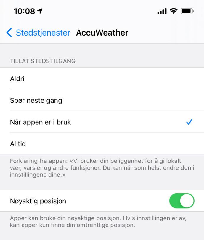 <strong>NØYAKTIG POSISJON:</strong> Hvis du ikke vil at en app skal vite nøyaktig hvor du er, kan du nå velge å skru det av. Skjermbilde: Kirsti Østvang