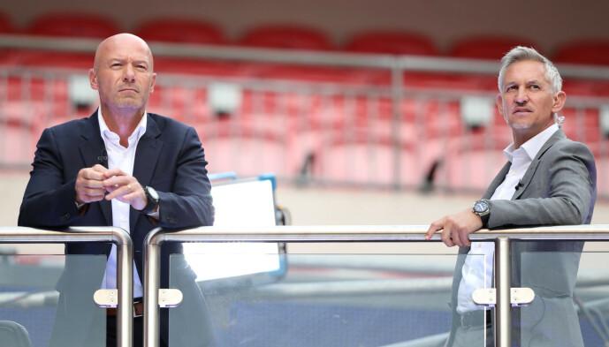 <strong>EKSPERTER:</strong> Alan Shearer (t.v.) er sammen med Gary Lineker en sterk fotballstemme i England. Foto: NTB scanpix