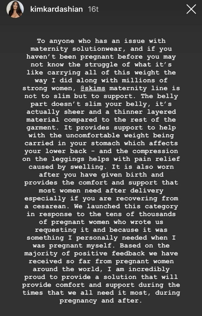 <strong>UTTALELSE:</strong> Dette skrev Kardashian til følgerene sine etter kritikken. Foto: Skjermdump