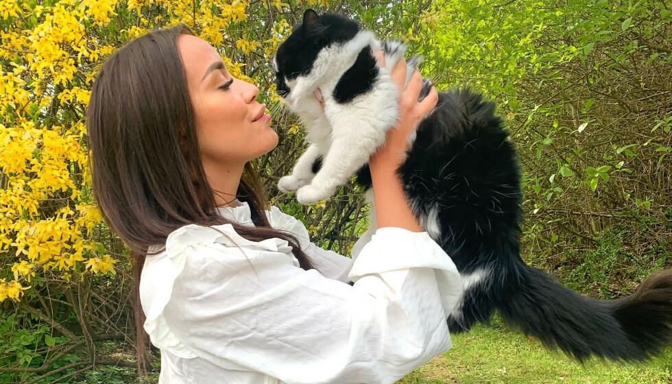 <strong>BLE PÅKJØRT:</strong> Realityprofil Mie Mack Cappelen opplevde at katten hennes Meeko ble påkjørt og skadet. Foto: Privat
