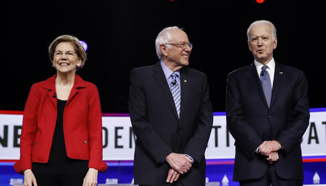 Senator Elizabeth Warren, Senator Bernie Sanders and presidential candidate Joe Biden. Photo: AP Photo / Matt Rourke / NTB