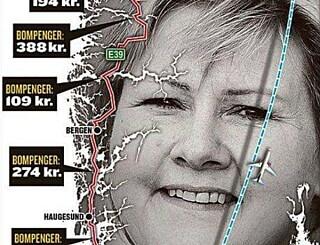 Image: Dette kartet viser ikke hva du må betale i bompenger på norgesferie