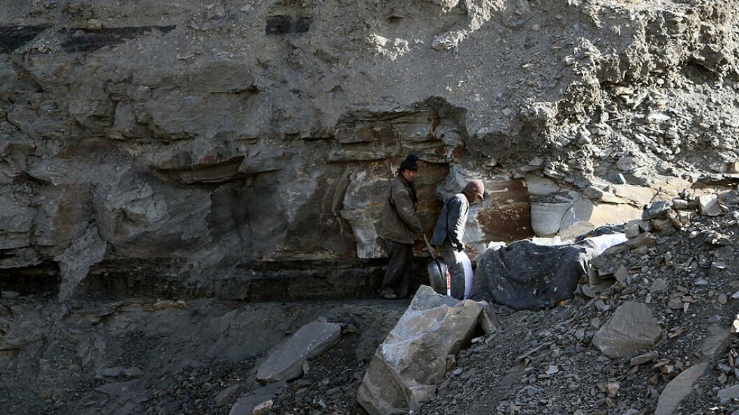 STJELER KULL: Her er to ulovlige kullgravere. De har forsøkt å kamuflere virksomheten med pledd og klær som går i ett med fjellet. Men lyden avslørte dem denne gangen. Ulovlige kullgravere kan få opptil 450 kroner tonnet. Foto: Kristoffer Egeberg