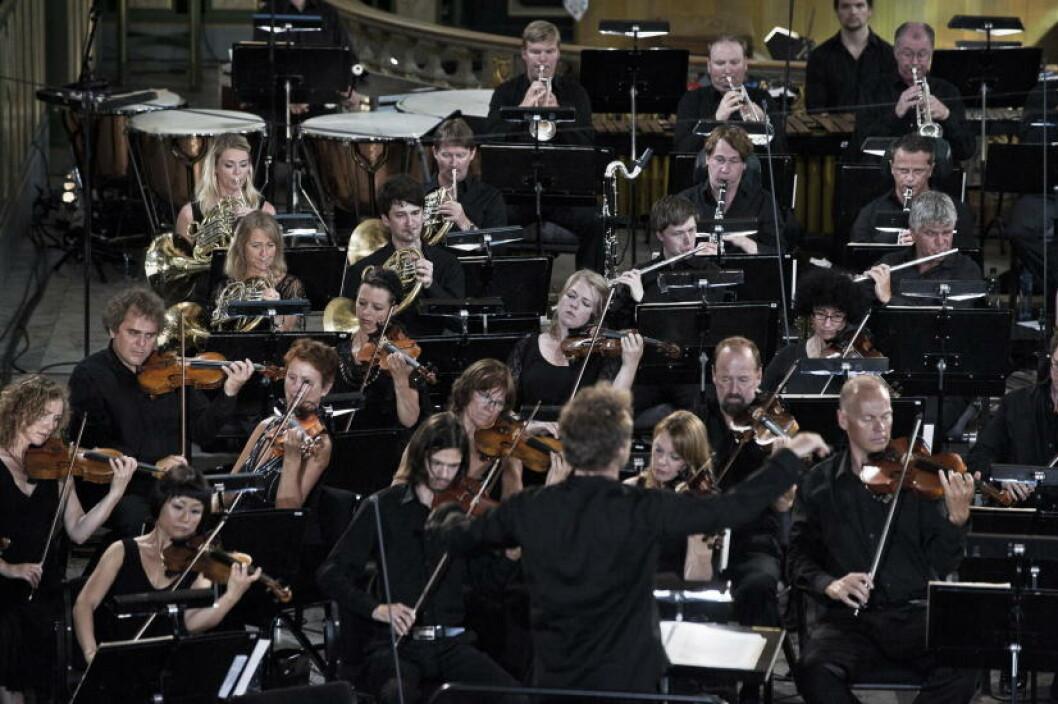 <strong>SPILTE:</strong> Kringkastningsorkesteret spilte i Oslo Domkirke i dag. Foto: Aleksander Andersen / Scanpix