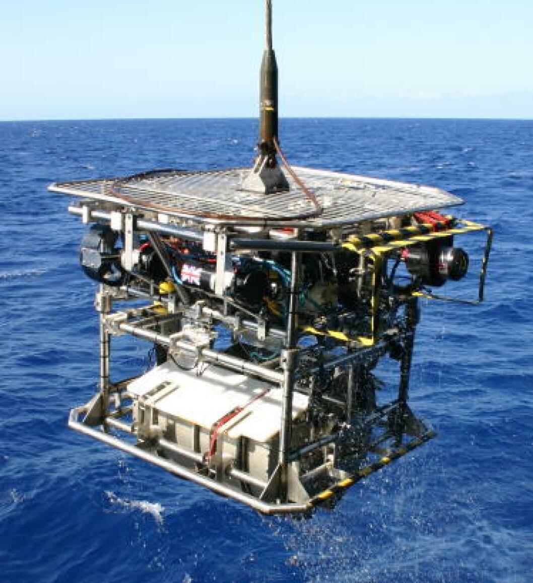 <strong>PRØVESAMLER:</strong> Den ubemannede undervannsfarkosten HyBIS ble brukt til å samle prøver. Foto: University of Southampton/NOC