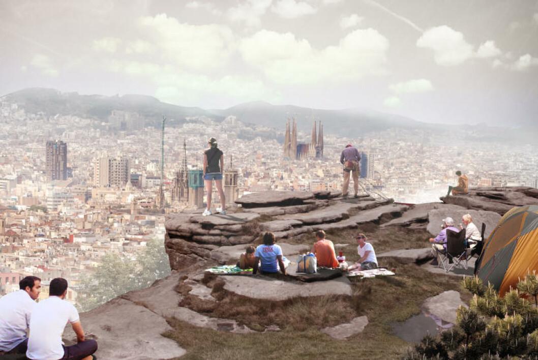 <strong>BARCELONA ROCK:</strong> Fra toppen skal du ha god utsikt over hele byen. Illustrasjon: UGO ARCHITECTURE
