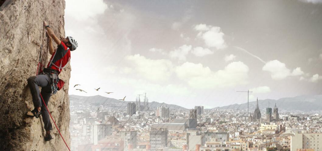 <strong>BARCELONA ROCK:</strong> Det 100 meter høye tårnet er laget spesielt med tanke på klatrere. Illustrasjon: UGO ARCHITECTURE