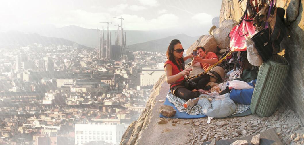 <strong>BARCELONA ROCK:</strong> Det skal være mulighet for klatrere å overnatte utendørs. Illustrasjon: UGO ARCHITECTURE