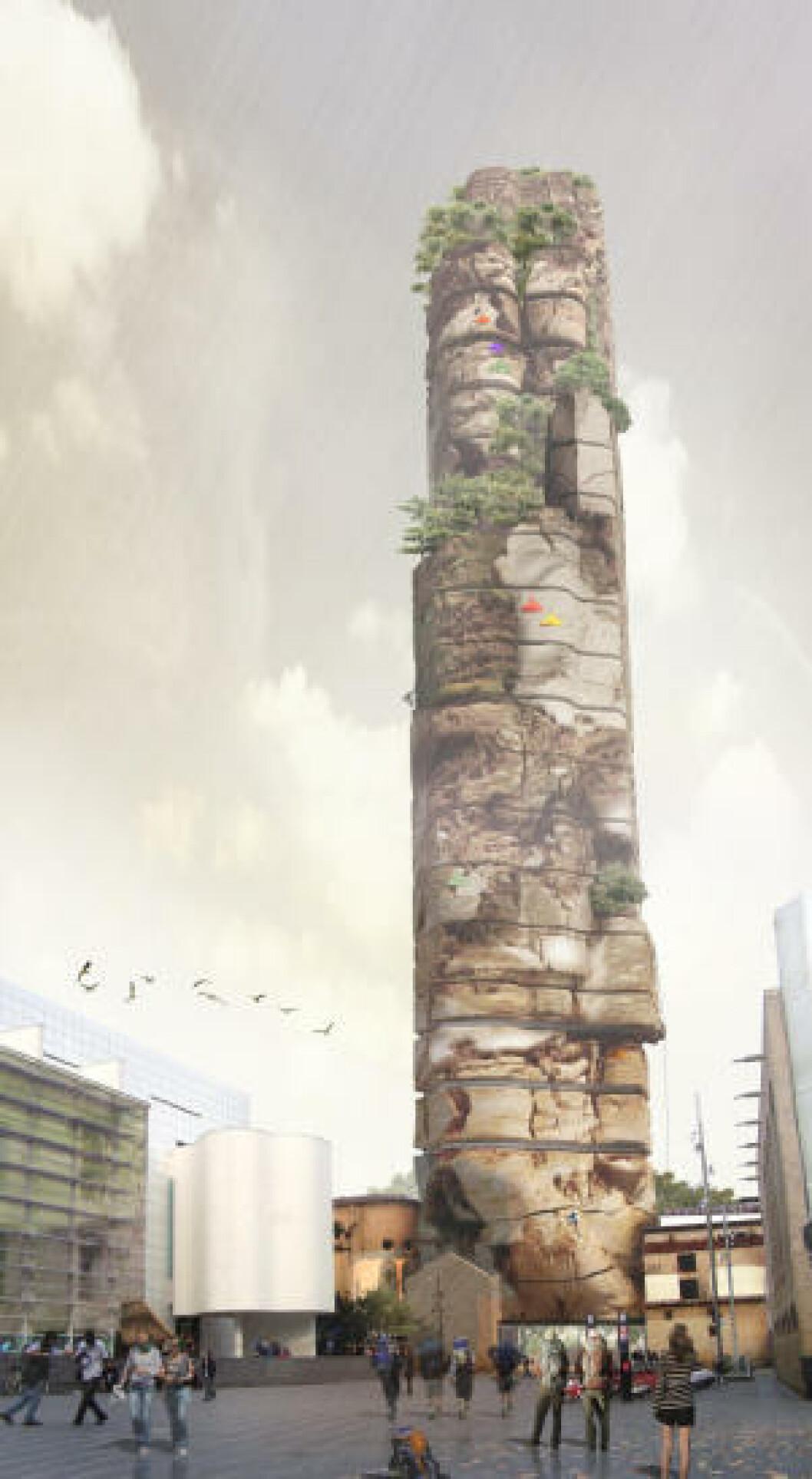 <strong>BARCELONA ROCK:</strong> Det 100 meter høye tårnet skal ha 50 rom, kino, spa, kafe, svømmebasseng, treningssenter, bar, butikker, og klatrevegger for nybegynnere. Illustrasjon: UGO ARCHITECTURE