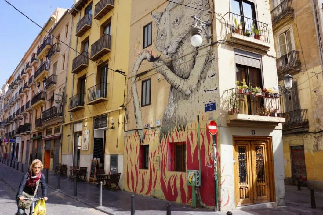 HUSKUNST:På mange husvegger i Valencia har avanserte kunstnere vært på ferde. Foto: MORTEN STOKKAN