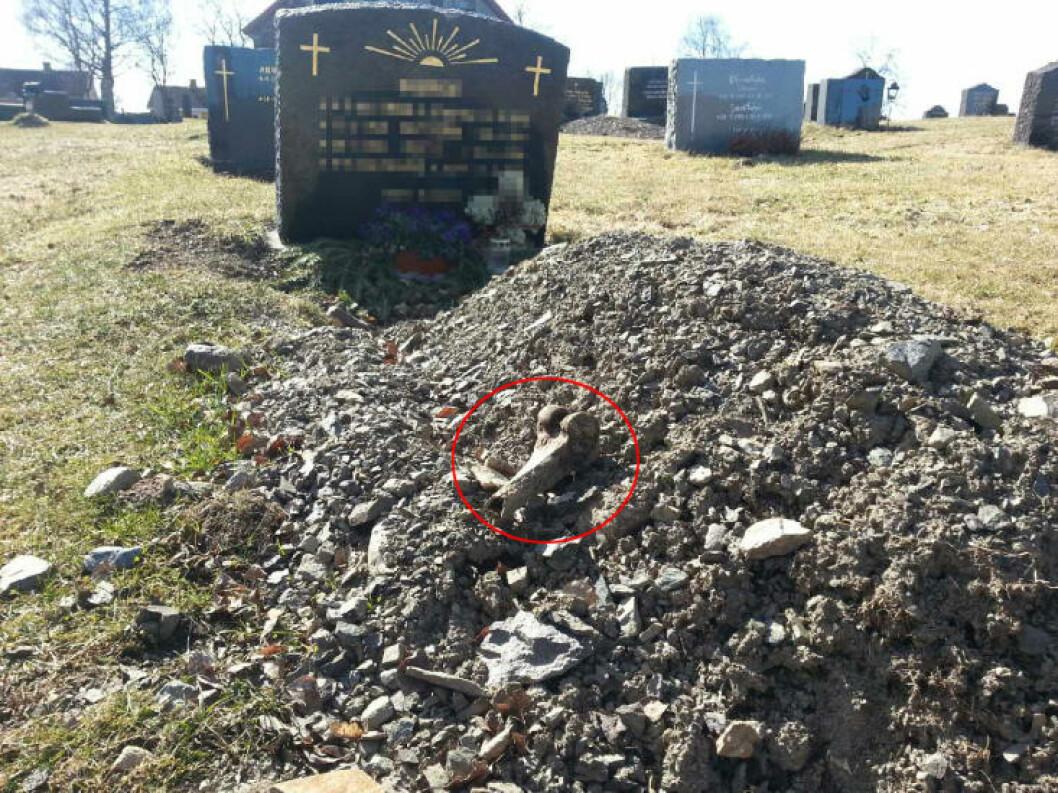 <strong>- GROTESK:</strong> Det var ved Søsterkirkene i Gran i Hadeland at kjæresteparet fant beinrester ved flere av gravene på kirkegården. Foto: Kent Are Jensen