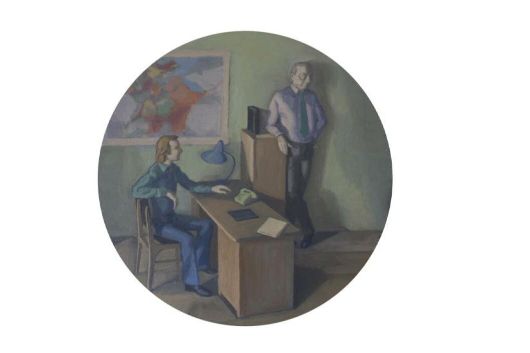 SIRKELRUNDT: Her har kunsternen valgt å male et motiv av en skulptur. Foto: Anders Grønneberg