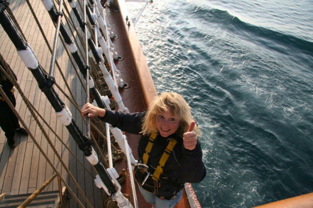 <strong>MODIG  MEDSEILER:</strong> På vei opp i masten. Foto: KIRSTEN MARGRETHE BUZZI