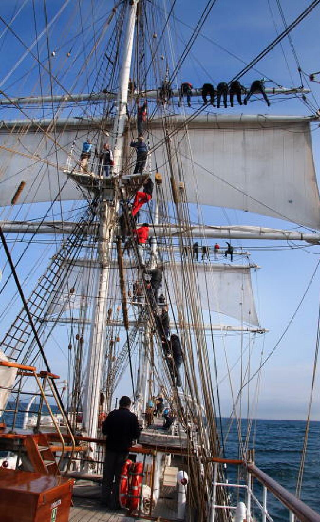 <strong>I MASTA:</strong> Du kan være med og klatre i masta. Foto: KIRSTEN MARGRETHE BUZZI